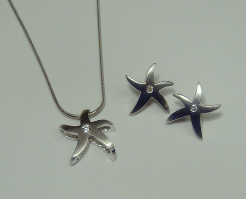Dancing Starfish Necklace & Earrings by Roxanne Beebe