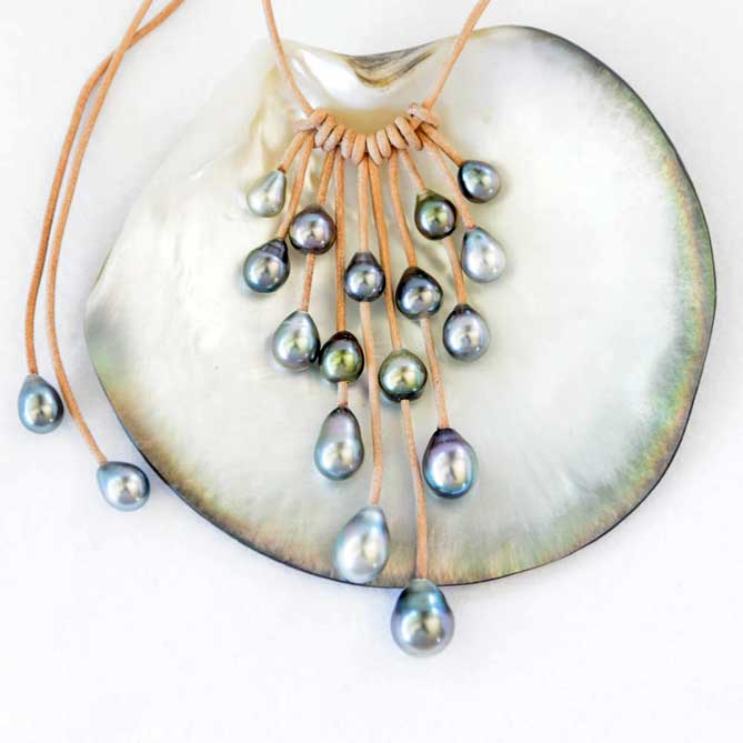 Tahitian Peacock Necklace by Gloria Madden
