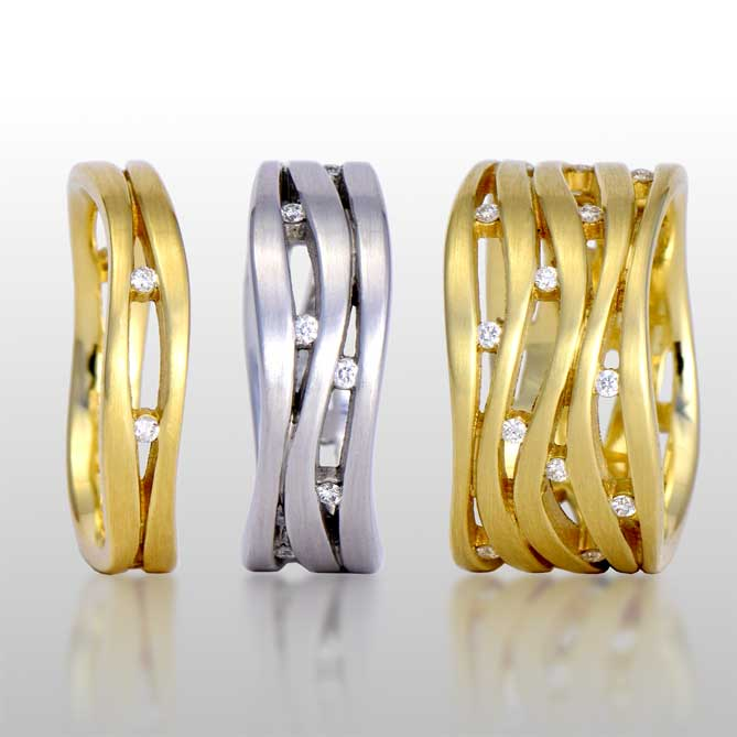 Lamello Wave Rings by Pratima Designs